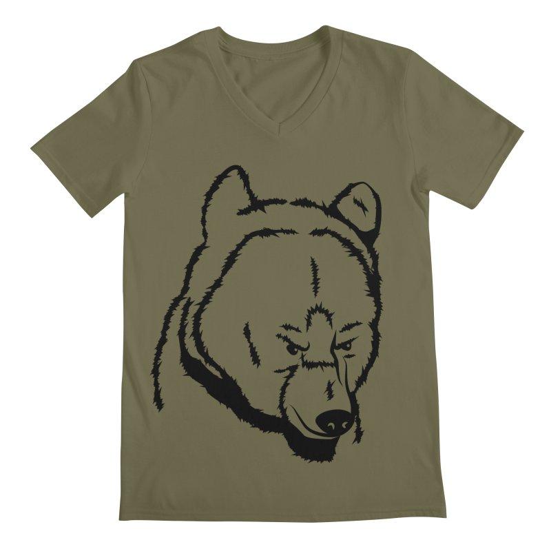 Black Bear Men's V-Neck by Synner Design