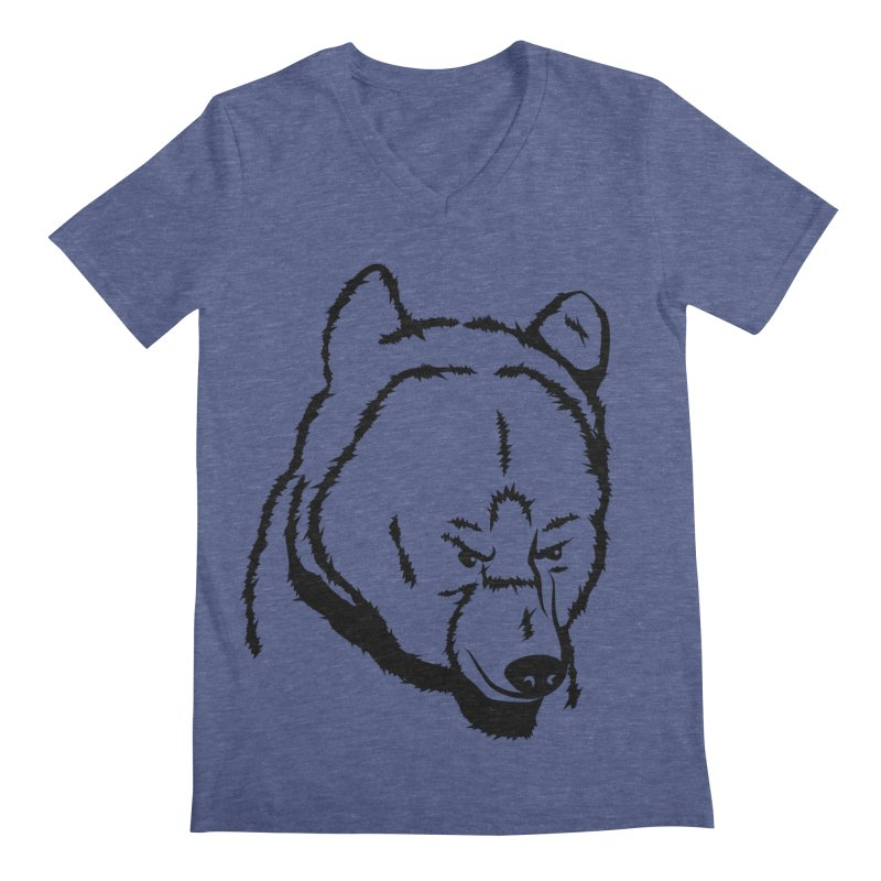 Black Bear Men's Regular V-Neck by Synner Design