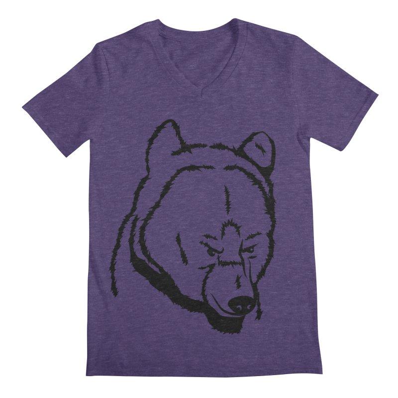 Black Bear Men's Regular V-Neck by Synner Design