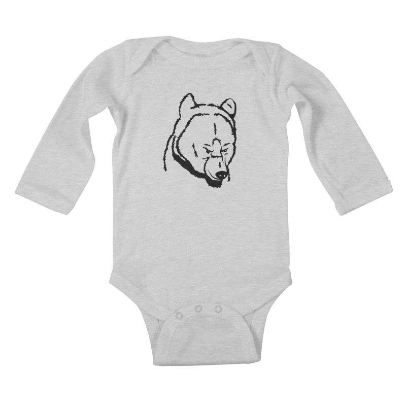 Black Bear Kids Baby Longsleeve Bodysuit by Synner Design