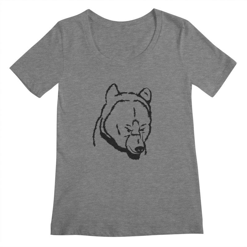 Black Bear Women's Regular Scoop Neck by Synner Design
