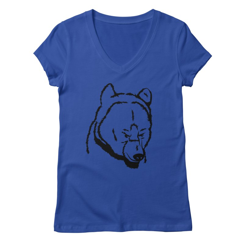 Black Bear Women's Regular V-Neck by Synner Design