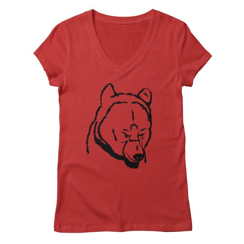 Black Bear Women's Regular V-Neck by Synner Design