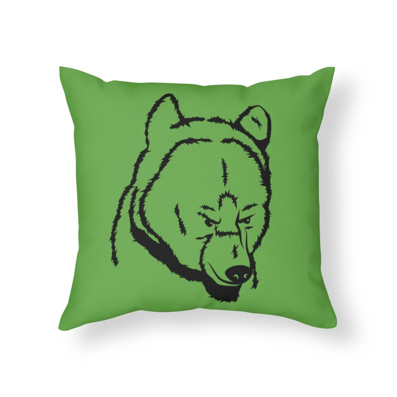 Black Bear Home Throw Pillow by Synner Design