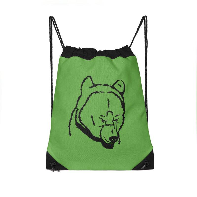 Black Bear Accessories Drawstring Bag Bag by Synner Design