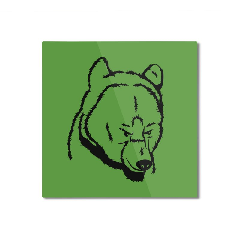 Black Bear Home Mounted Aluminum Print by Synner Design