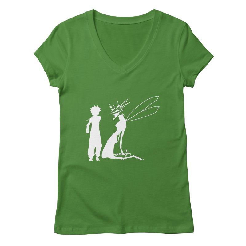 Killua white Women's Regular V-Neck by Synner Design