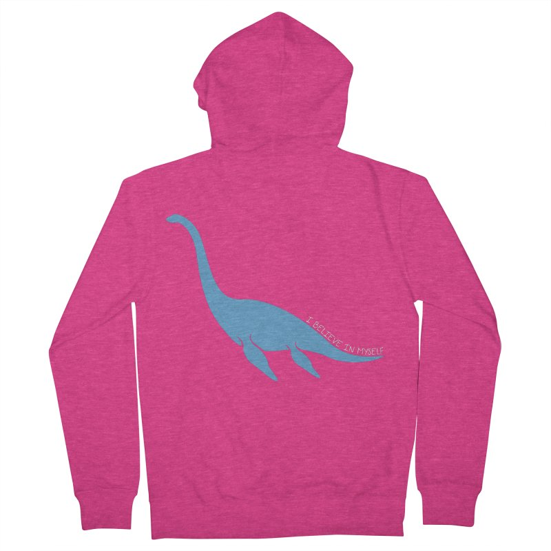 Nessie believe white Women's French Terry Zip-Up Hoody by Synner Design
