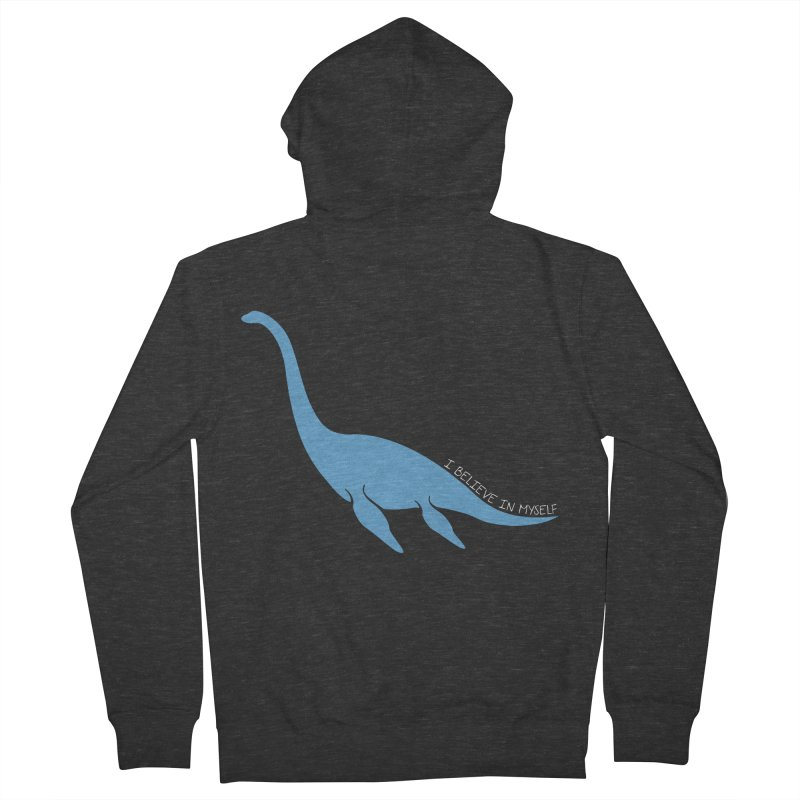 Nessie believe white Men's French Terry Zip-Up Hoody by Synner Design