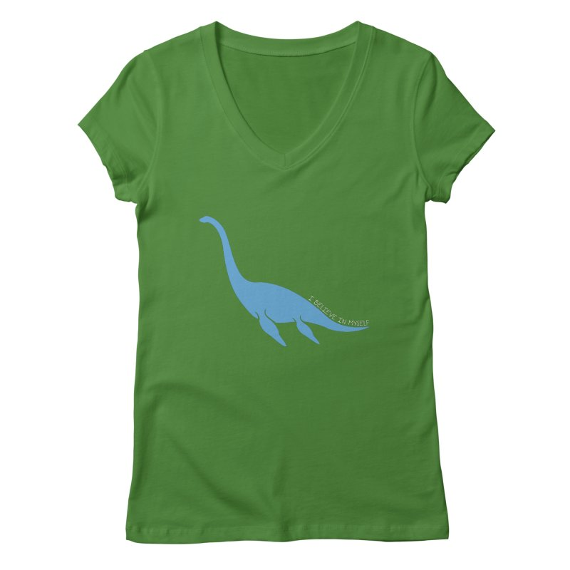Nessie believe white Women's Regular V-Neck by Synner Design