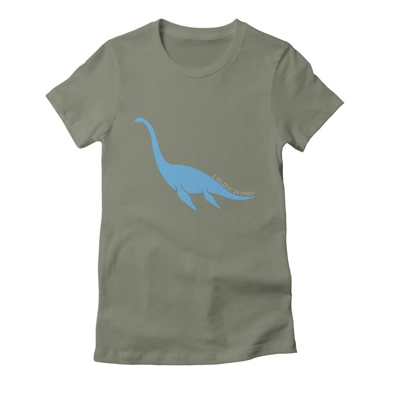 Nessie believe white Women's Fitted T-Shirt by Synner Design