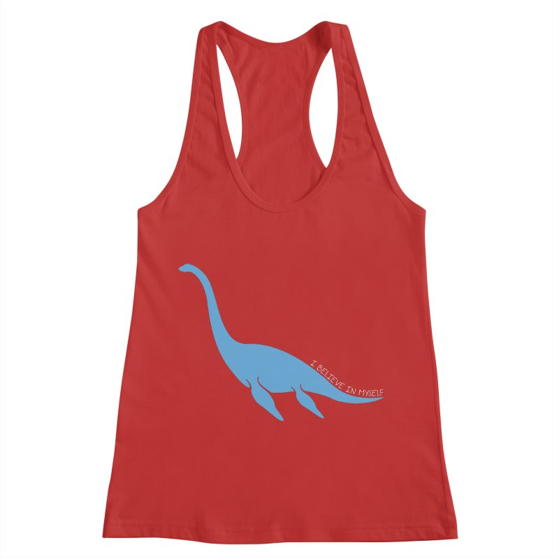Nessie believe white Women's Racerback Tank by Synner Design