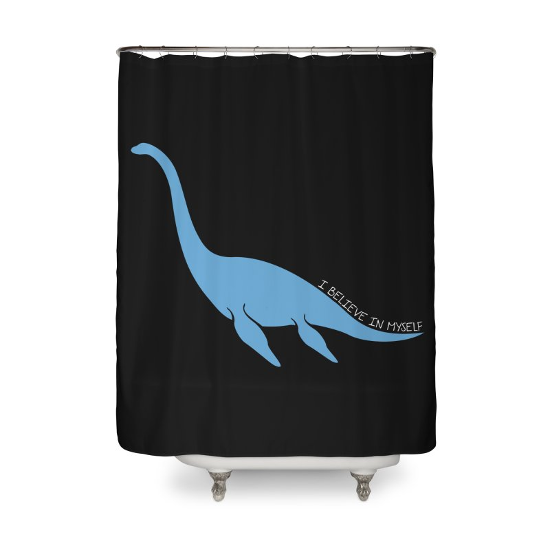 Nessie believe white Home Shower Curtain by Synner Design