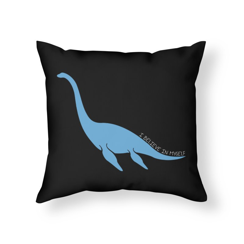 Nessie believe white Home Throw Pillow by Synner Design