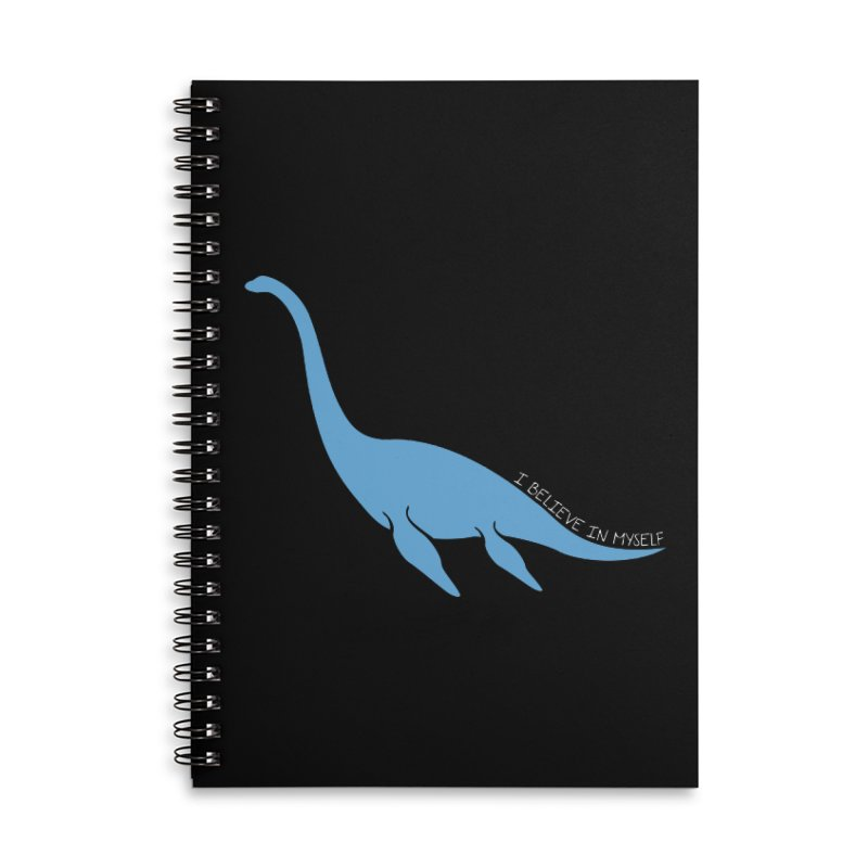 Nessie believe white Accessories Lined Spiral Notebook by Synner Design