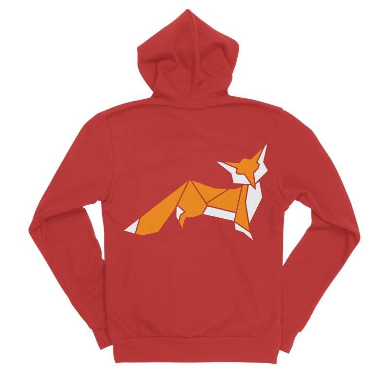 Little Fox origami Men's Sponge Fleece Zip-Up Hoody by Synner Design
