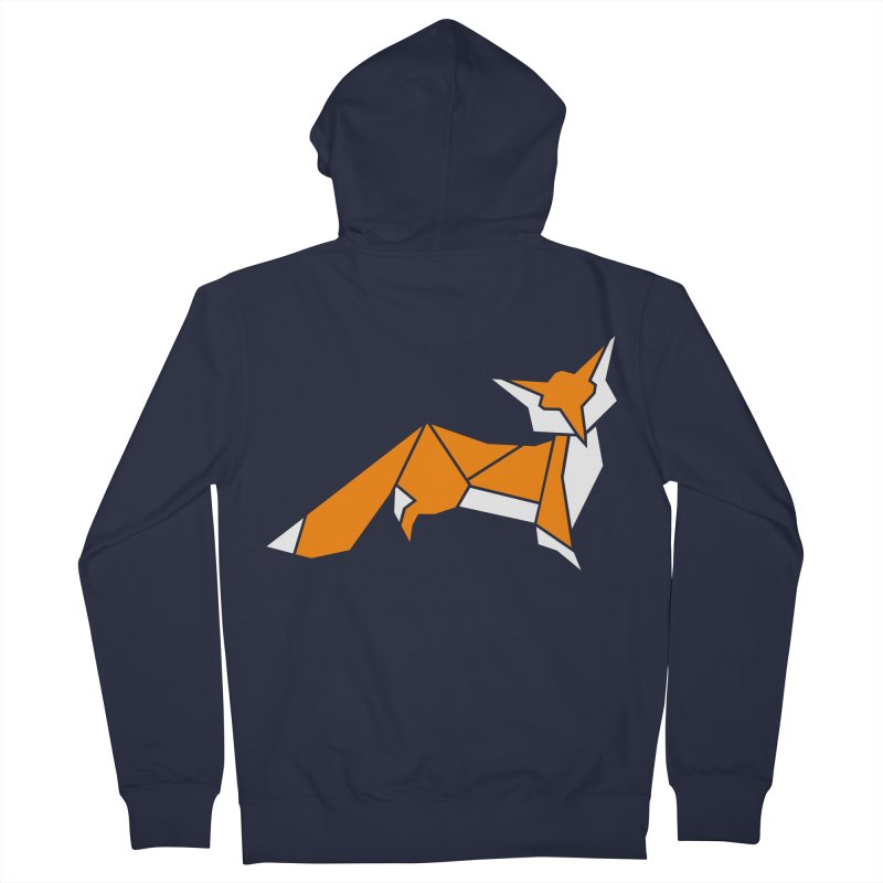 Little Fox origami Men's French Terry Zip-Up Hoody by Synner Design