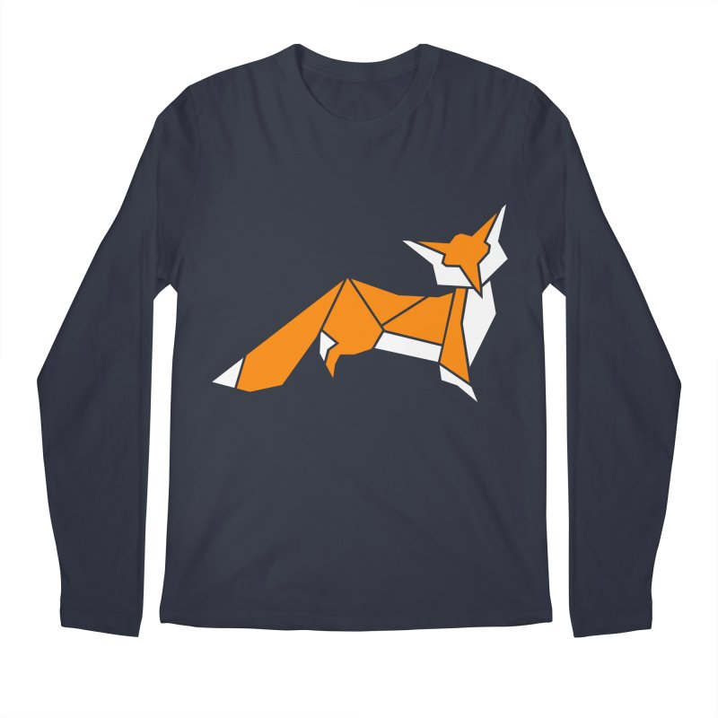 Little Fox origami Men's Regular Longsleeve T-Shirt by Synner Design
