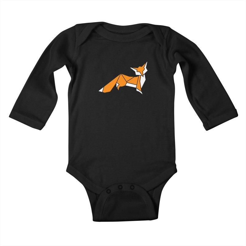 Little Fox origami Kids Baby Longsleeve Bodysuit by Synner Design