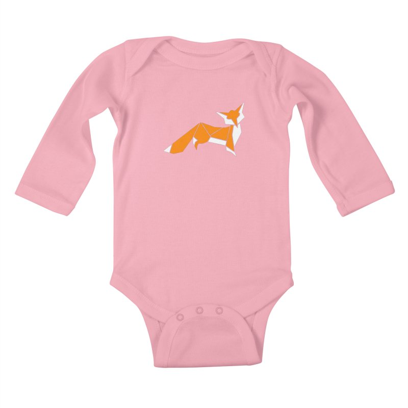 Little Fox origami Kids Baby Longsleeve Bodysuit by Synner Design