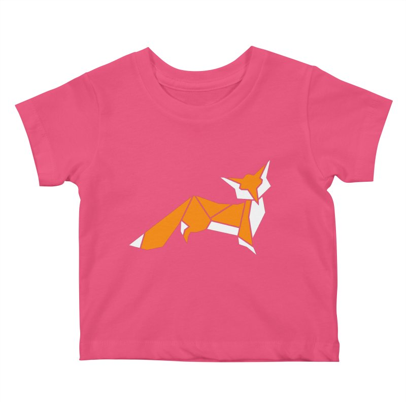 Little Fox origami Kids Baby T-Shirt by Synner Design