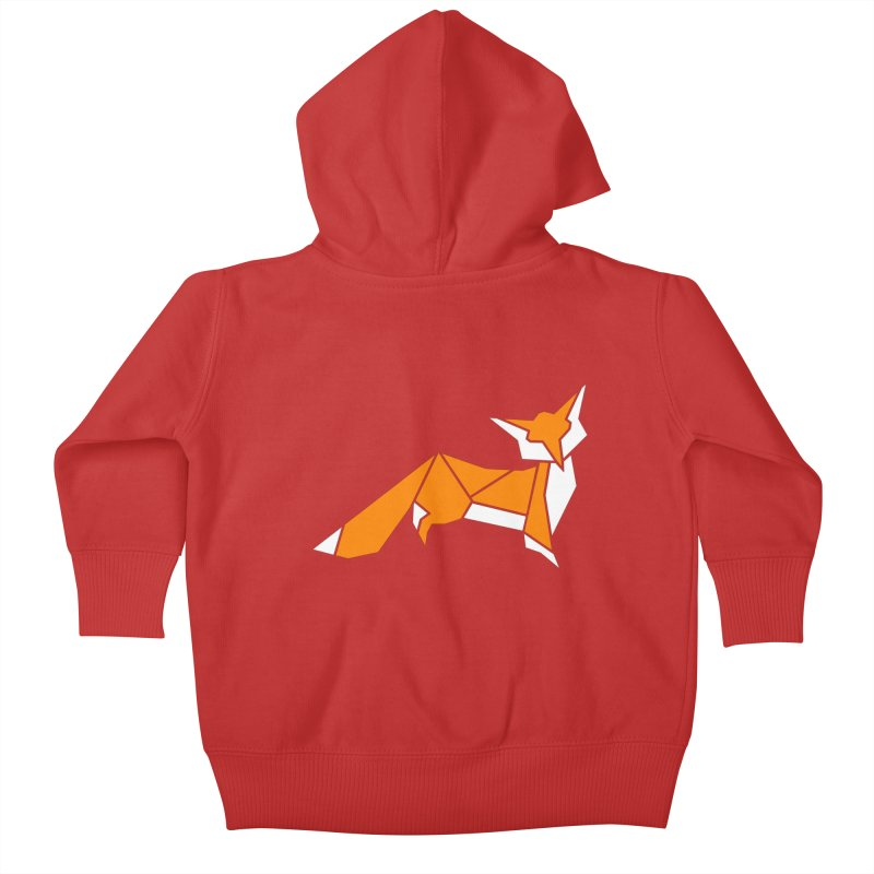 Little Fox origami Kids Baby Zip-Up Hoody by Synner Design