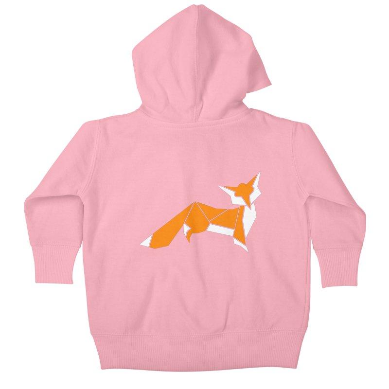Little Fox origami Kids Baby Zip-Up Hoody by Synner Design