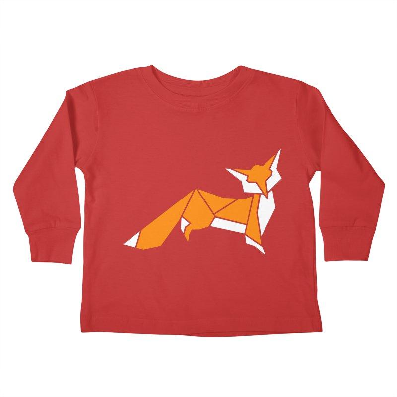 Little Fox origami Kids Toddler Longsleeve T-Shirt by Synner Design