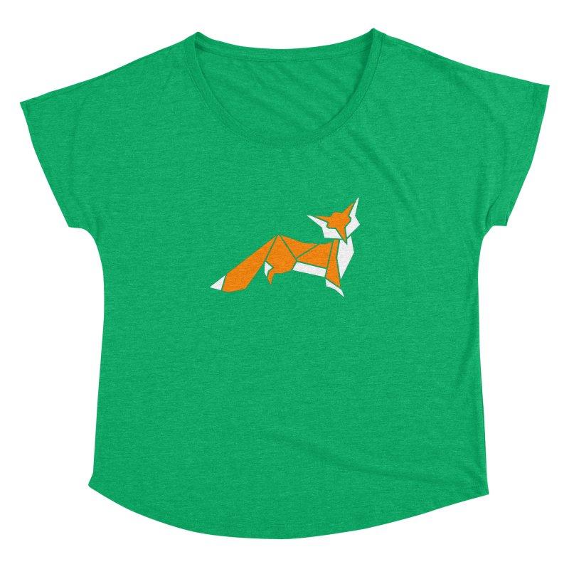 Little Fox origami Women's Dolman Scoop Neck by Synner Design