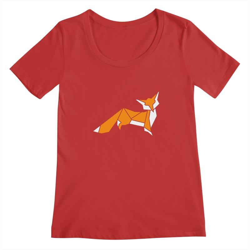 Little Fox origami Women's Regular Scoop Neck by Synner Design