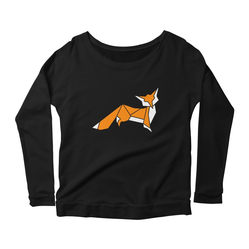 Little Fox origami Women's Scoop Neck Longsleeve T-Shirt by Synner Design