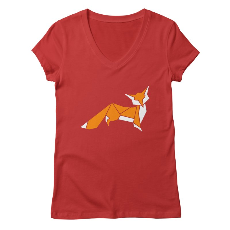 Little Fox origami Women's Regular V-Neck by Synner Design