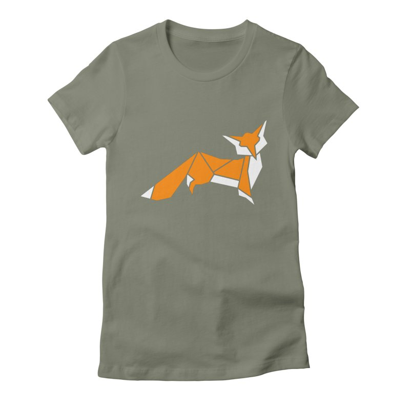Little Fox origami Women's Fitted T-Shirt by Synner Design