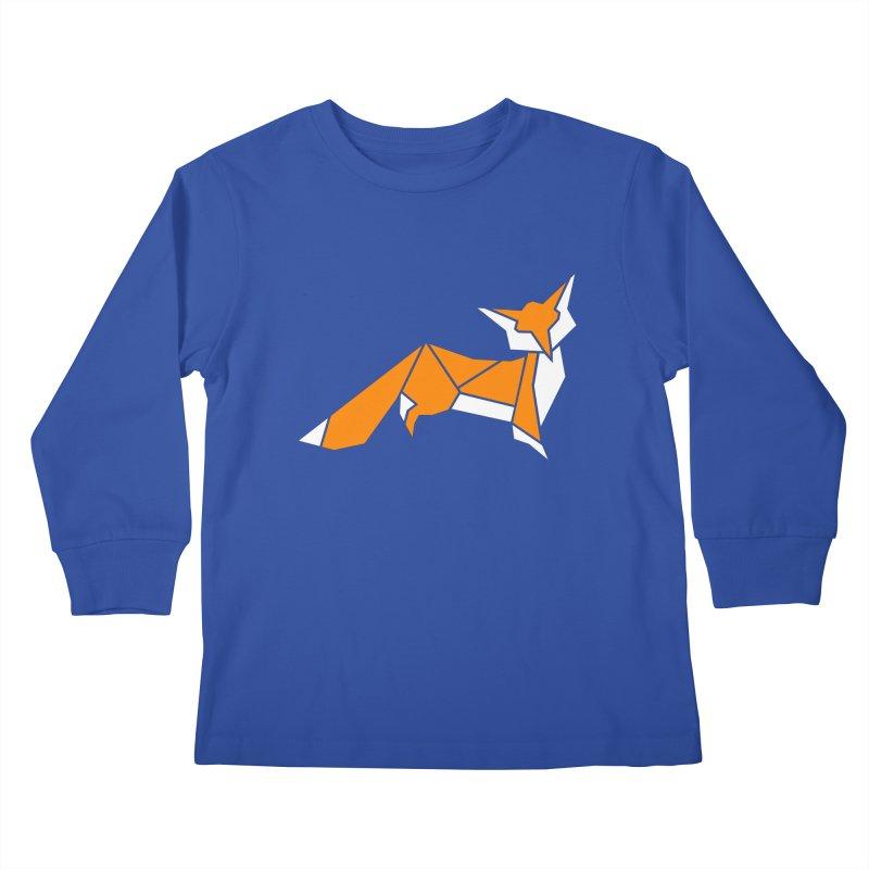 Little Fox origami Kids Longsleeve T-Shirt by Synner Design