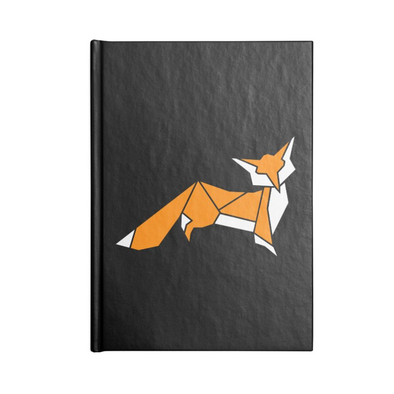Little Fox origami Accessories Lined Journal Notebook by Synner Design