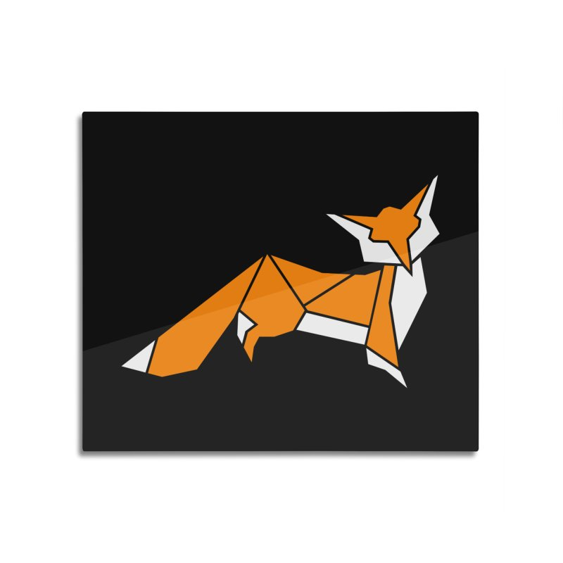 Little Fox origami Home Mounted Aluminum Print by Synner Design