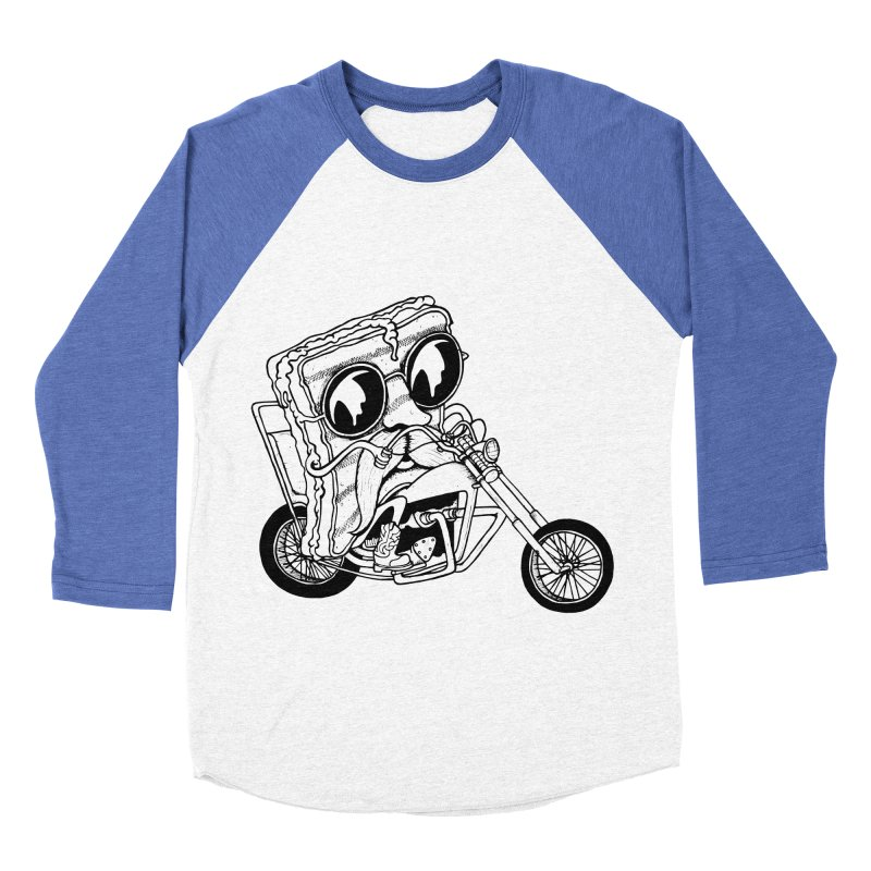 Cheesy Rider in Men's Baseball Triblend T-Shirt Tri-Blue Sleeves by danielcrichton's Artist Shop