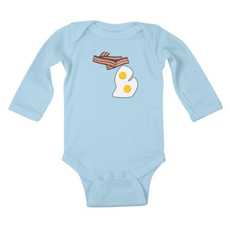 Michigan Breakfast Kids Baby Longsleeve Bodysuit by Daniel Montgomery's Artist Shop