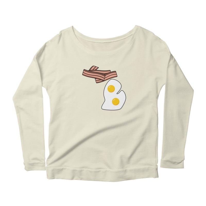 Michigan Breakfast Women's Scoop Neck Longsleeve T-Shirt by Daniel Montgomery's Artist Shop
