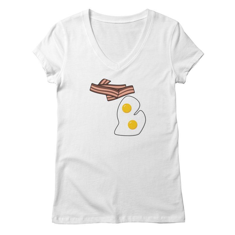 Michigan Breakfast Women's Regular V-Neck by Daniel Montgomery's Artist Shop