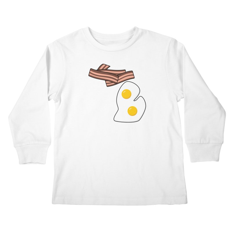 Michigan Breakfast Kids Longsleeve T-Shirt by Daniel Montgomery's Artist Shop
