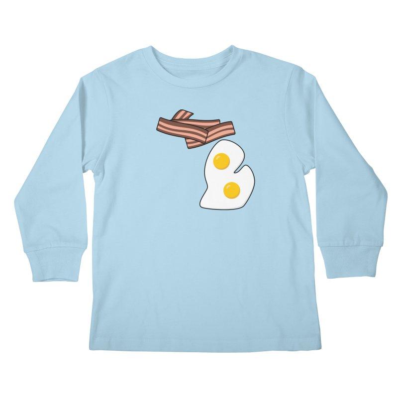 Michigan Breakfast Kids Longsleeve T-Shirt by Daniel Montgomery's Artist Shop
