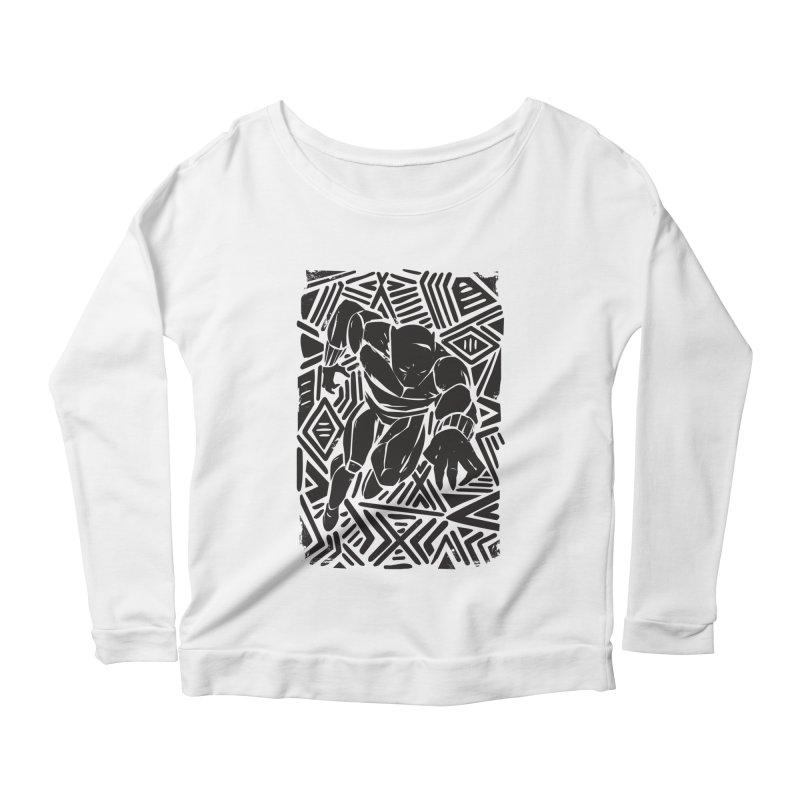 Tribal Panther Women's Scoop Neck Longsleeve T-Shirt by Daniel Stevens's Artist Shop