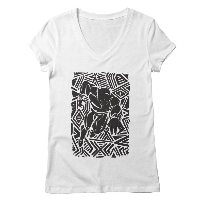 Tribal Panther Women's Regular V-Neck by Daniel Stevens's Artist Shop