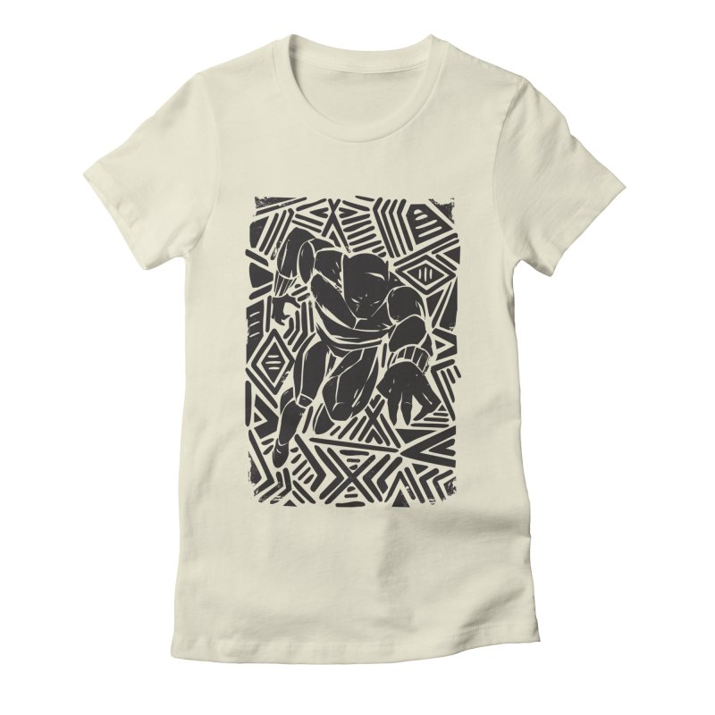 Tribal Panther Women's Fitted T-Shirt by Daniel Stevens's Artist Shop