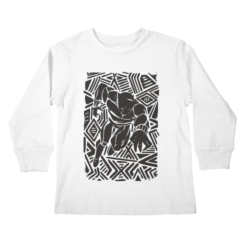 Tribal Panther Kids Longsleeve T-Shirt by Daniel Stevens's Artist Shop