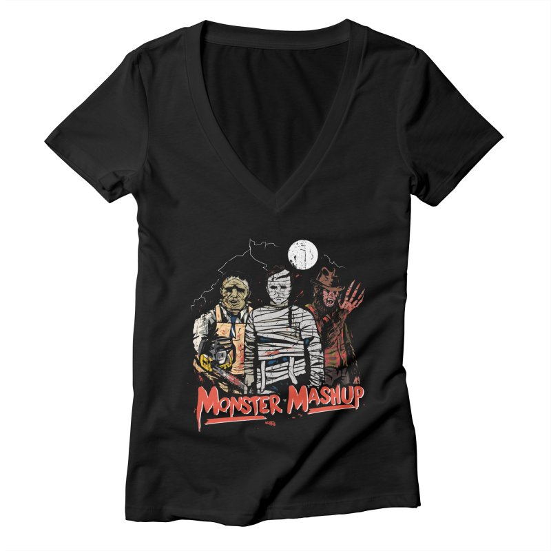 Monster Mashup Women's Deep V-Neck V-Neck by Daniel Stevens's Artist Shop