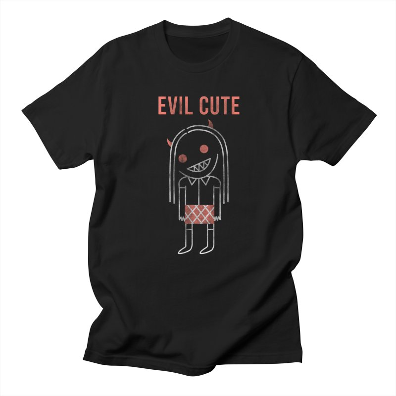Evil Cute in Women's Regular Unisex T-Shirt Black by Daniel Stevens's Artist Shop
