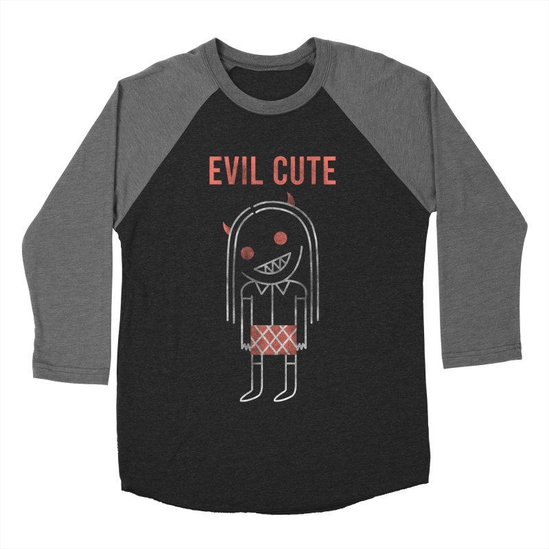 Evil Cute Men's Baseball Triblend Longsleeve T-Shirt by Daniel Stevens's Artist Shop