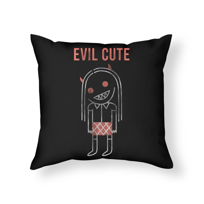 Evil Cute Home Throw Pillow by Daniel Stevens's Artist Shop